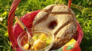 Locally produced food in a picnic basket